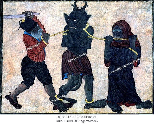 Central Asia: Siyah Kalem School, 15th century, Two demons leading and beating a third demon