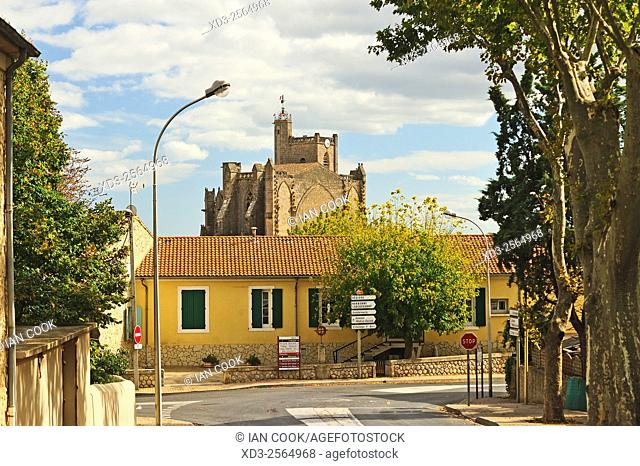 view of Cathedral of St Etienne, Capestang, Herault Department, Languedoc-Roussillon, France