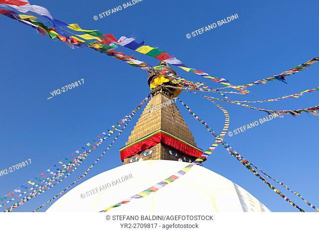 The famous buddhist stupa at Boudhanath, Kathmandu, Nepal