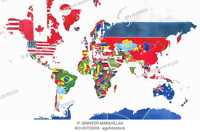 Watercolor map of the world and national flags