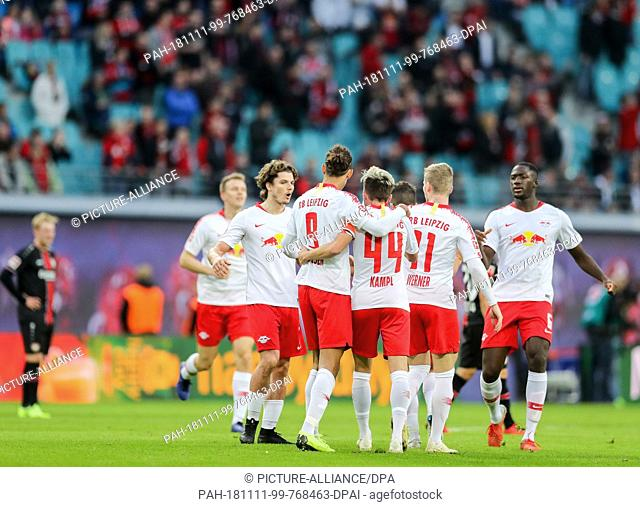 11 November 2018, Saxony, Leipzig: Soccer: Bundesliga, 11th matchday, RB Leipzig - Bayer Leverkusen in the Red Bull Arena Leipzig