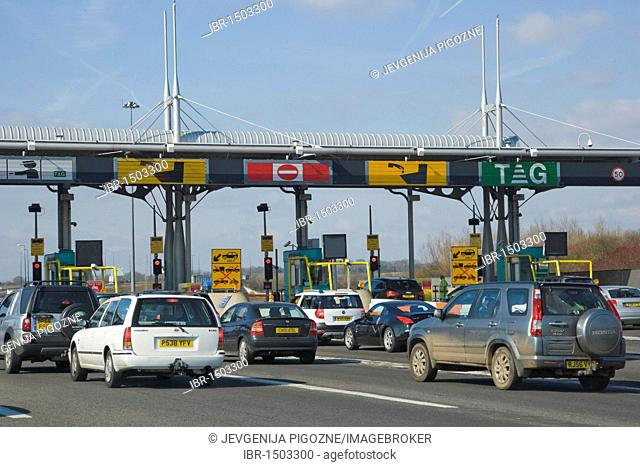 Toll on M4 for The Second Severn Crossing, Ail Groesfan Hafren, bridge over river Severn between England and Wales, United Kingdom, Europe