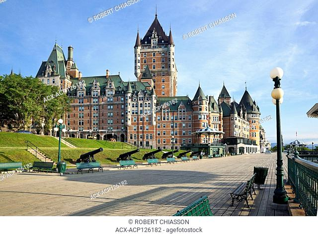 Chateau Frontenac and Dufferin Terrace in the early morning light, Old Quebec City, Province of Quebec, Canada