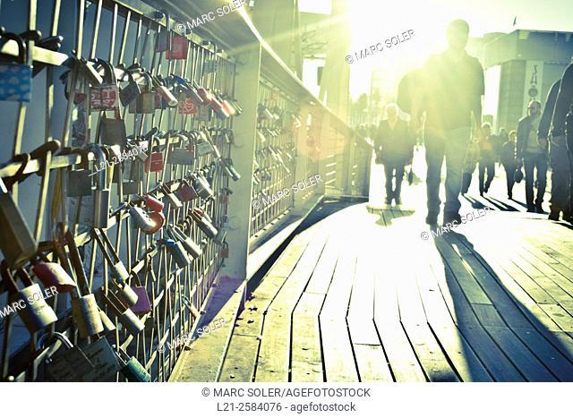 Love padlocks in a bridge. Olympic Village, Olympic Port, Barcelona, Catalonia, Spain