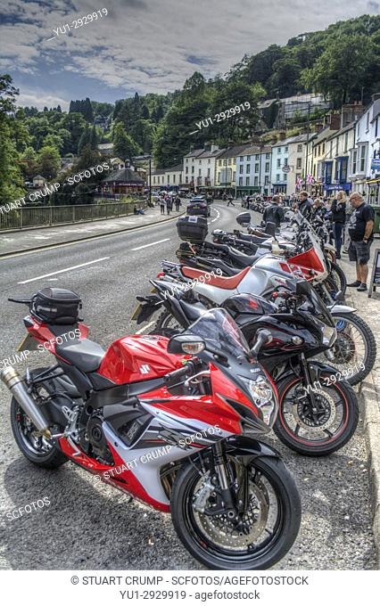 HDR image of Motorcycles parked on North Parade in Matlock Bath in Derbyshire UK
