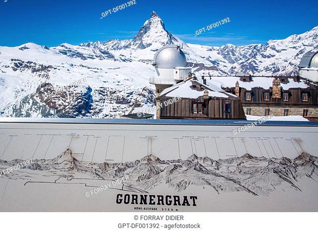 ORIENTATION TABLE AT THE SUMMIT OF THE GORNERGRAT WITH THE PLANETARIUM OF GORNERGRAT AND THE MATTERHORN IN THE BACKGROUND, SKI RESORT, ZERMATT, CANTON OF VALAIS