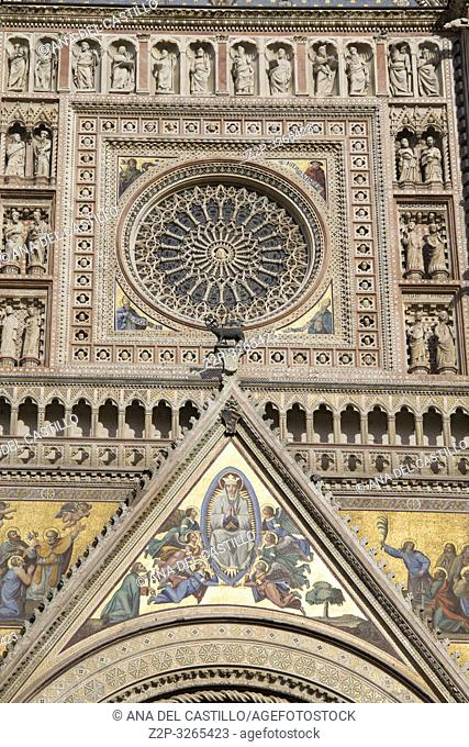 Orvieto, Italy. Façade of the Duomo Cathedral