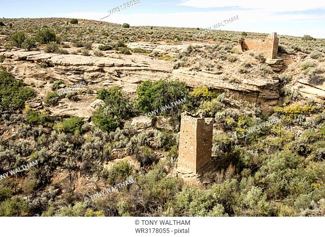 Square Tower and Hovenweep House in canyon of Hovenweep National Monument, Southeast Utah, United States of America, North America