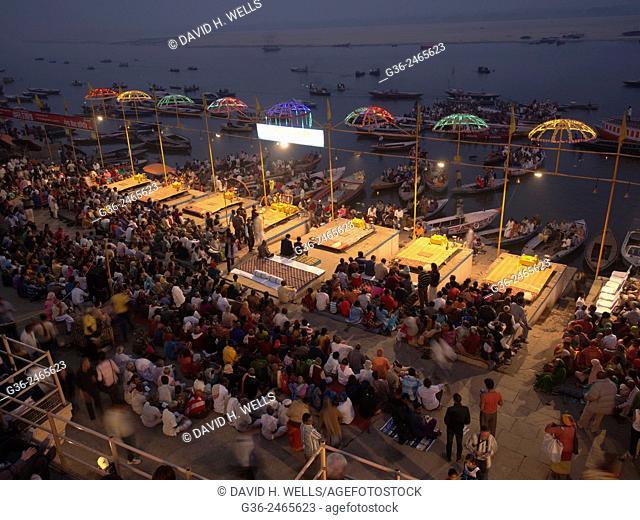 Crowd gathered at ghat, Varanasi, Uttar Pradesh, India