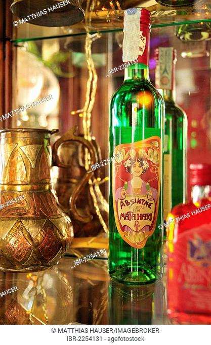 Bottle of absinthe, Bar Absenta bar, Carrer de Sant Carles, Barceloneta, Barcelona, Catalonia, Spain, Europe