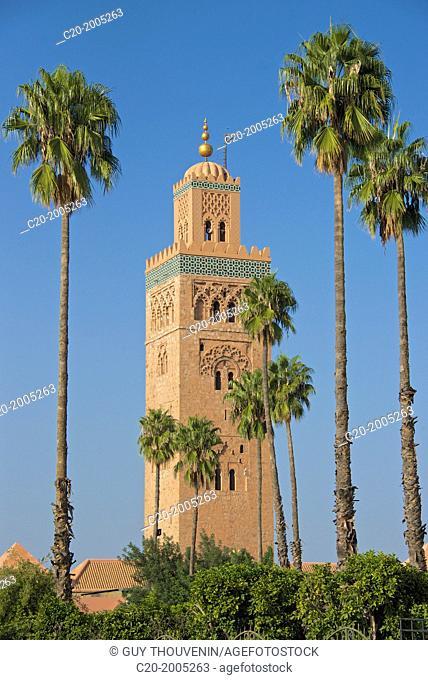 Minaret, Koutoubia Mosque 1147, with palm trees, Marrakech, Morocco