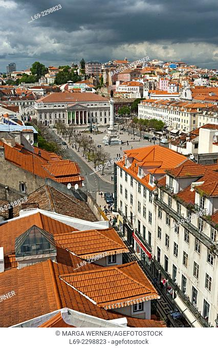 View on the old town of Lisbon with Praca Dom Pedro IV aka Rossio, Baixa, Portugal, Europe