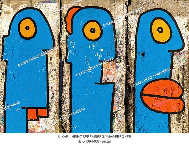 Artistically painted wall segments at Potsdamer Platz square, Berlin, Germany