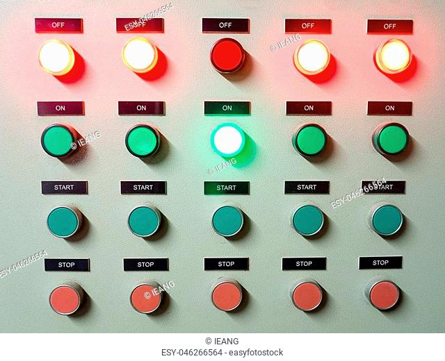Red, green and blue light led on electric Control Panel showing on/off status