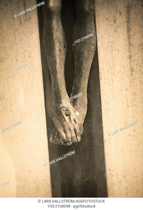 Crucifixion of Jesus Christ, detail of old wooden sculpture in Vadstena Abbey, Sweden