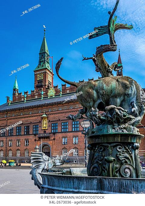 Town Hall with the dragon fountain, Copenhagen, Denmark
