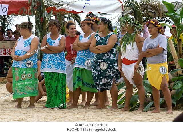Female competitors, traditional stone lifting, Heiva festival, Papeete, Tahiti, French Polynesia