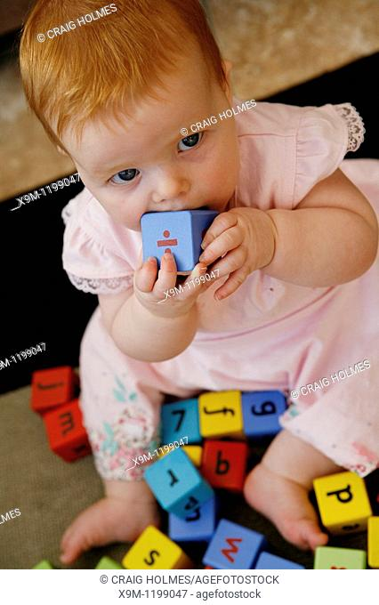 Six month old baby playing with building blocks