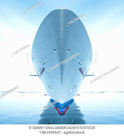 Surreal symmetrical view of the bow of a cruise ship