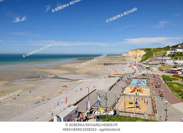France, Seine Maritime, Veules les Roses, beachfront games and outdoor pool with cliffs in the background