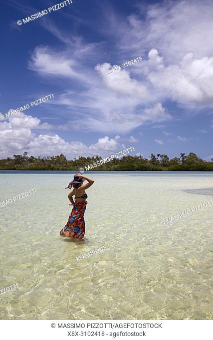 Girl in the white beaches in Ile aux Cerfs, Mauritius