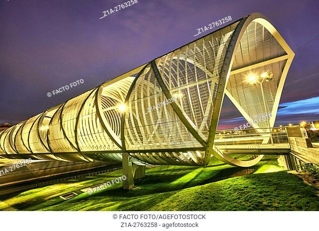 Arganzuela bridge, designed by architect Dominique Perrault. Madrid Rio Park. Madrid. Spain
