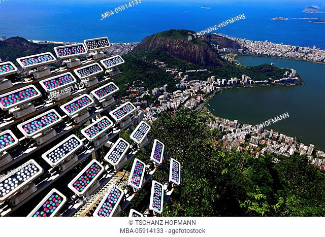 Lighting setup for Cristo Redentor, Christ the saviour, Rio de Janeiro, Brazil, on the mountain Corcovado at the Tijuca woods at the south part of the town