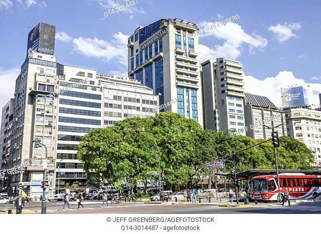 Argentina, Buenos Aires, Avenida 9 de Julio, July 9 Avenue, major road, city skyline, buildings, bus, traffic, Hispanic, Argentinean Argentinian Argentine
