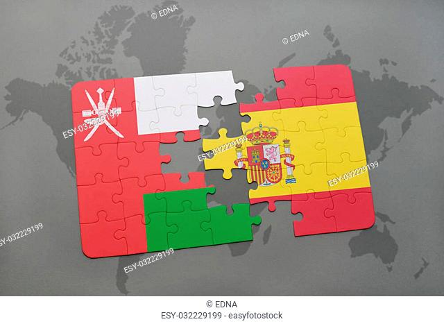 puzzle with the national flag of oman and spain on a world map background. 3D illustration