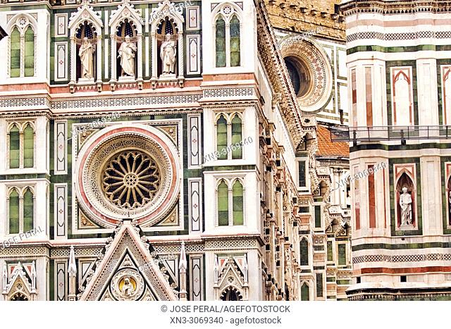Cathedral of Saint Mary of the Flower, Cattedrale di Santa Maria del Fiore, Giotto's Campanile, bell tower, Brunelleschi's Dome, Piazza del Duomo, Florence