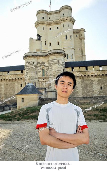 Paris, France, Portrait Young Chinese Man, Visiting Chateau de Vincennes