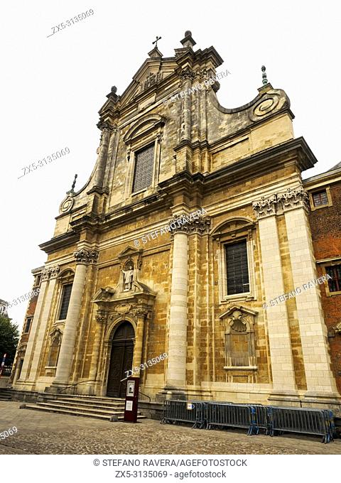 The front facade of St Walburgha (Walburga) Church (Church of St Franciscus Xaverius) - Bruges, Belgium