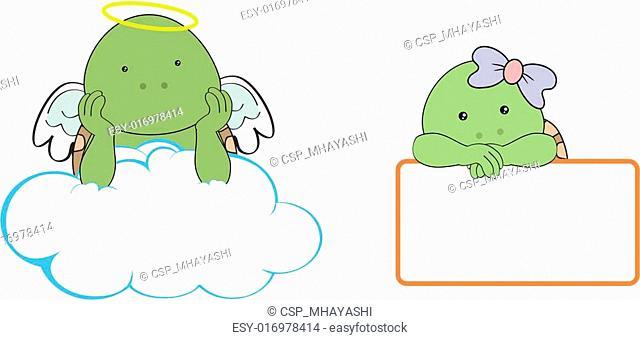 turtle kid girl angel copy space cl