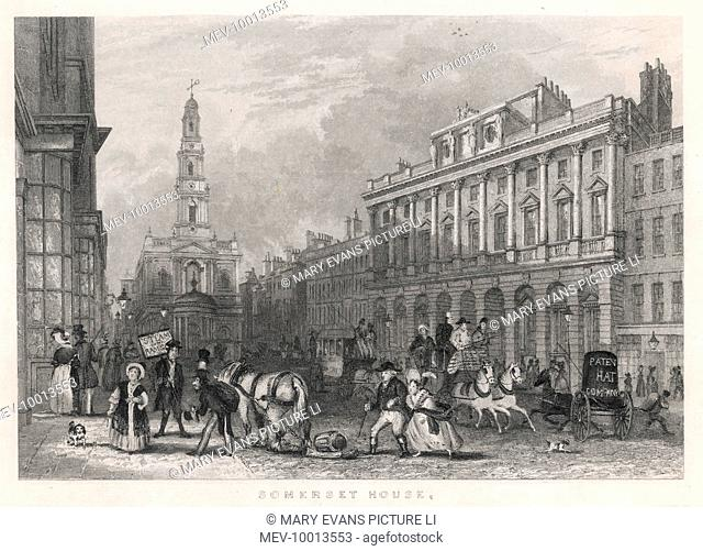 View of the Strand looking eastward, with Somerset House on the right ; the church facing us is St Mary-le-Strand