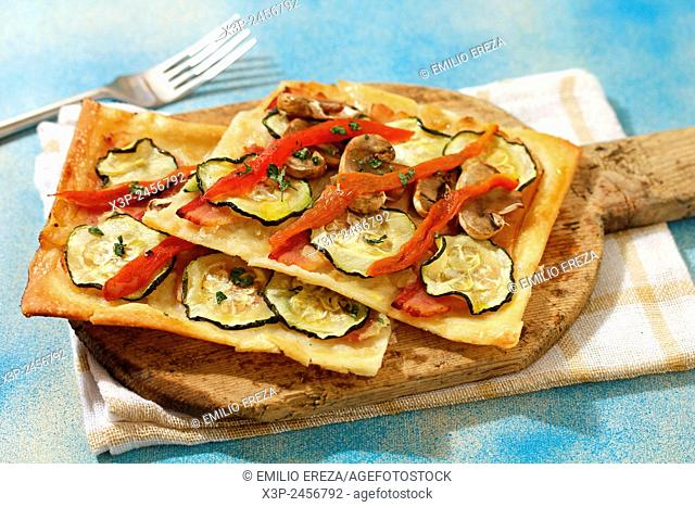 Savoury pastry with bacon and vegetables
