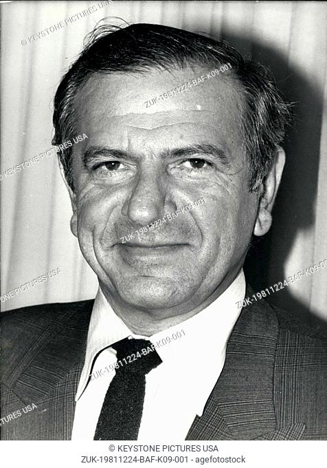 Dec. 24, 1981 - Bernard Hanon (pictured), who started working for Renault in 1959, is now the head of the company. He is succeeding Bernard Vernier Palliez