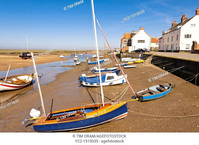 Boats at Wells-next-the-sea , Norfolk , England , Britain , Uk