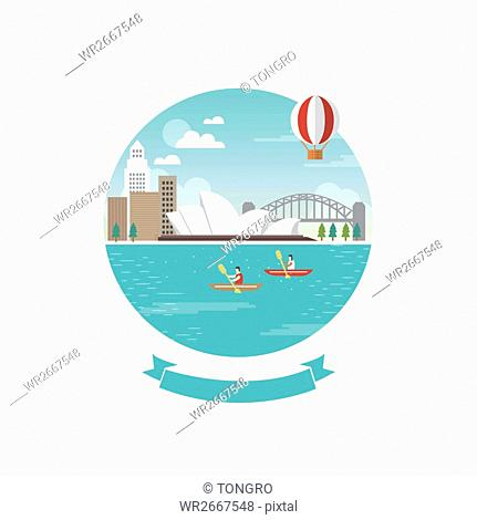 View of summer sea with Sidney Opera House in Australia