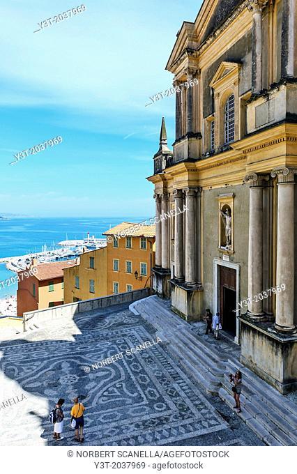 Europe, France, Alpes-Maritimes, Menton. Parvis of Saint Michel Basilica