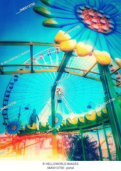 Amusement park rides, Place Jaude, Clermont Ferrand, Auvergne, France