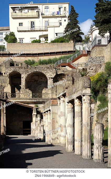 Row of Pillars in Herculaneum, Campania, Italy