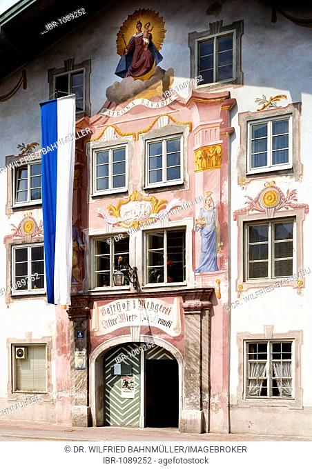 Inn, Alter Wirt, German for Old Host or Publican, Eschenlohe, Upper Bavaria, Bavaria, Germany, Europe
