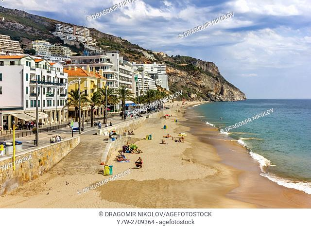Beach of Sesimbra. The resort is situated in Portugal close to capital Lisbon