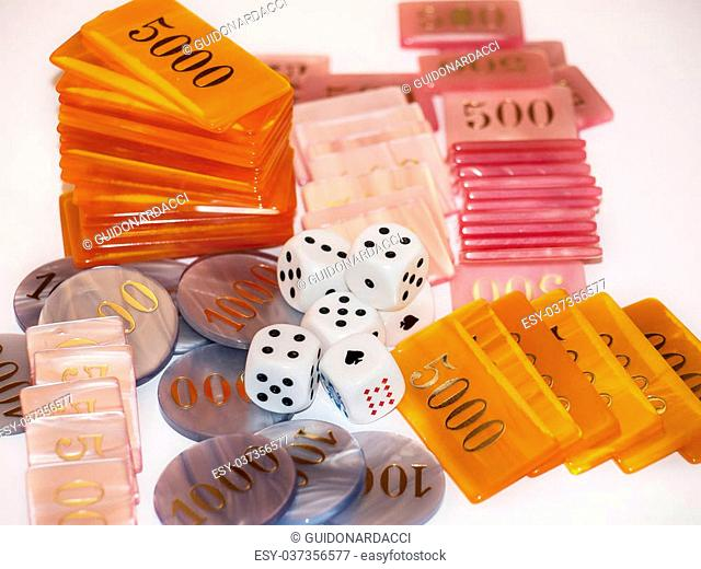 dice and gaming chips
