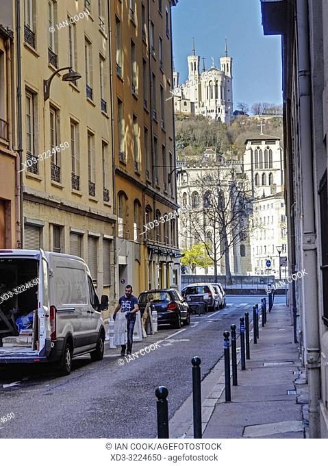 view of Basilica Notre Dame de Fourviere from Rue dâ. . Amboise, Lyon, Auvergne-Rhone-Alps, France
