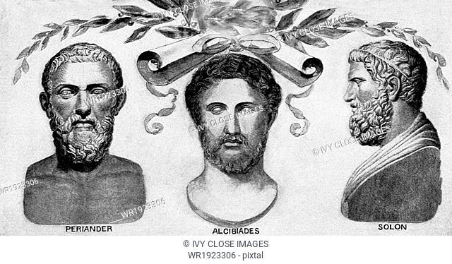 The ancient Greeks pictured are, from left to right: seventh-century B.C. ruler/tyrant of Corinth Periander, fifth-century B.C