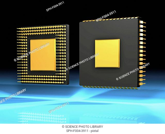 Computer artwork of the front and back side of a computer chip