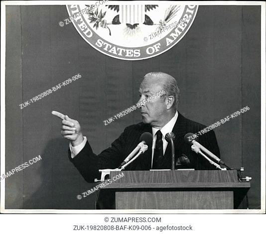 Aug. 08, 1982 - George Schultz secreter of state. Washington D.c. secretary of state (George Schultz) his 1st official news conference today as he outline to...
