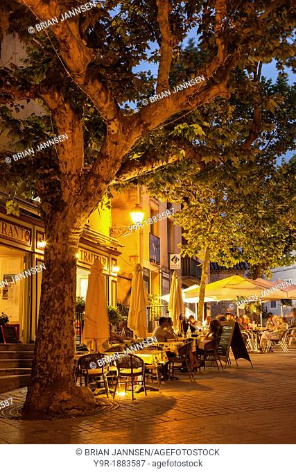 Evening relaxing at outdoor Cafes in Greoux-les-Bains, Provence France