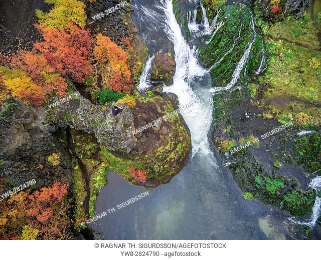 Top view -Gjaarfoss Waterfalls, Iceland. This image is shot with a drone